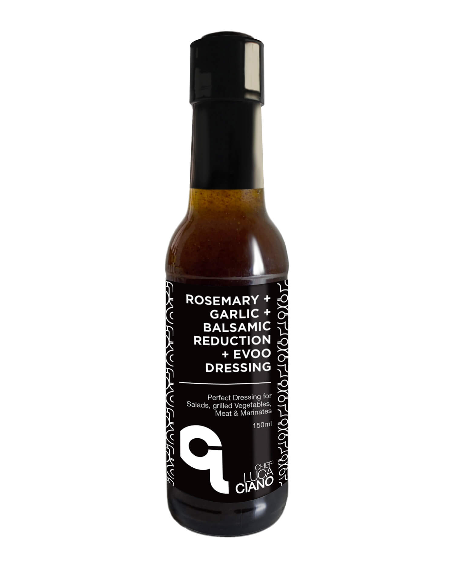 150ml Bottle of Chef Luca Ciano's Rosmery Garlic Balsamic Reduction Evoo Salad Drressing