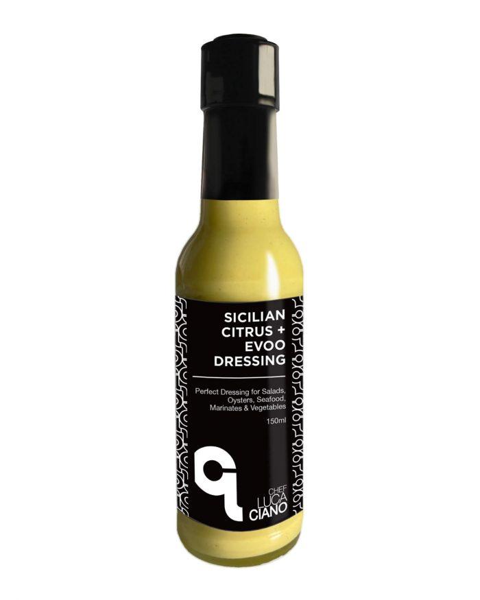 150ml Bottle of Chef Luca Ciano's Sicilian Citrus Evoo Salad Drressing