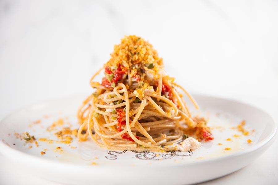 Spaghetti with Marinated Fresh Swordfish & Sicilian Citrus Dressing
